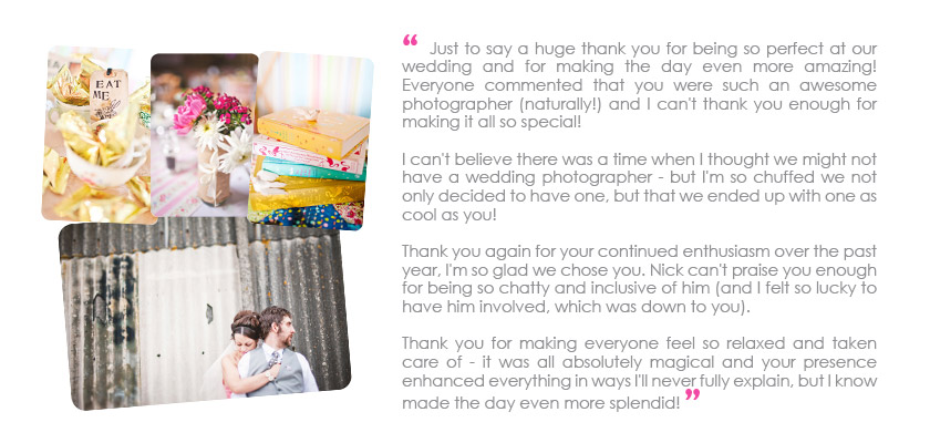 London wedding photographer testimonial